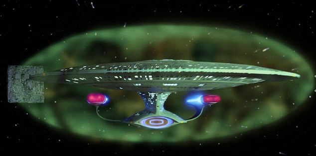 'Somewhat like the shields created by force fields on Star Trek (pictured) that were used to repel alien weapons, we are seeing an invisible shield blocking these electrons,' said Professor Daniel Baker