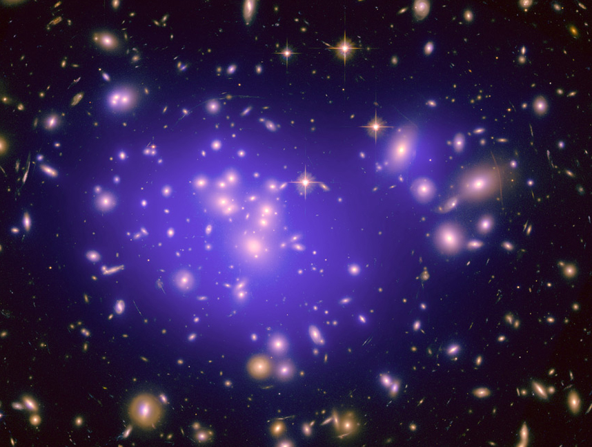Dark matter cannot be photographed, but researchers can detect it and map it by measuring gravitational lensing. Its distribution is shown here in the blue overlay of the inner region of Abell 1689, a cluster of galaxies 2.2 billion light years away. (Credit: NASA/ESA/JPL-Caltech/Yale/CNRS)