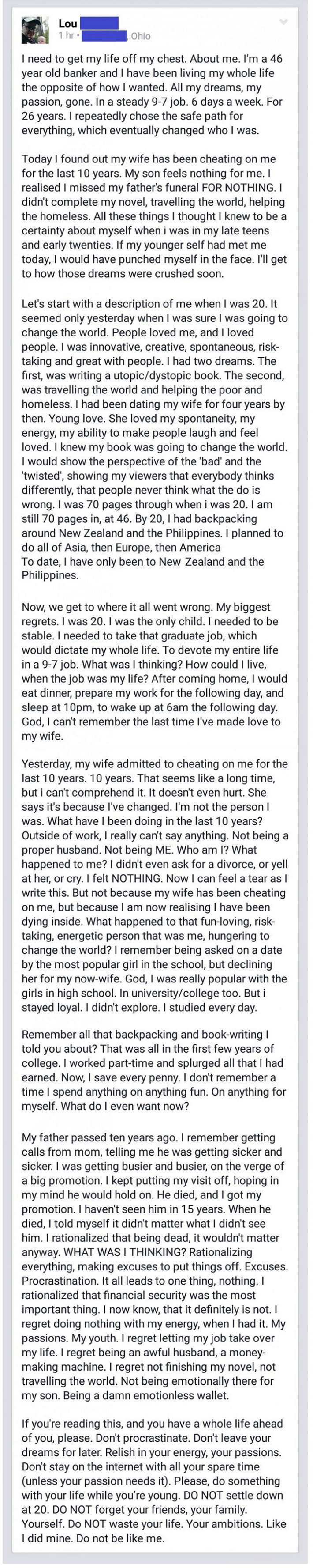 46 Years Old Banker Writes Heartbreaking Post And BEGS Society To Read THIS Until It's Too Late!