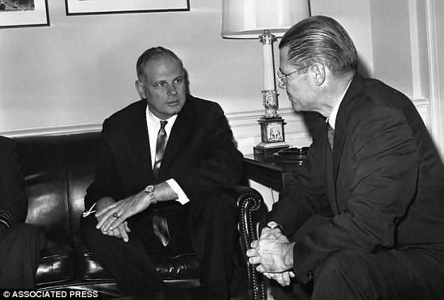 In this image, secretary of defense at the time, Robert McNamara (right) talks at the pentagon, in Washington with his Canadian counterpart, Paul Hellyer (left), in 1963. Hellyer is the first high ranking politician to publicly state that aliens are real Paul Hellyer: At least four alien species have visited Earth