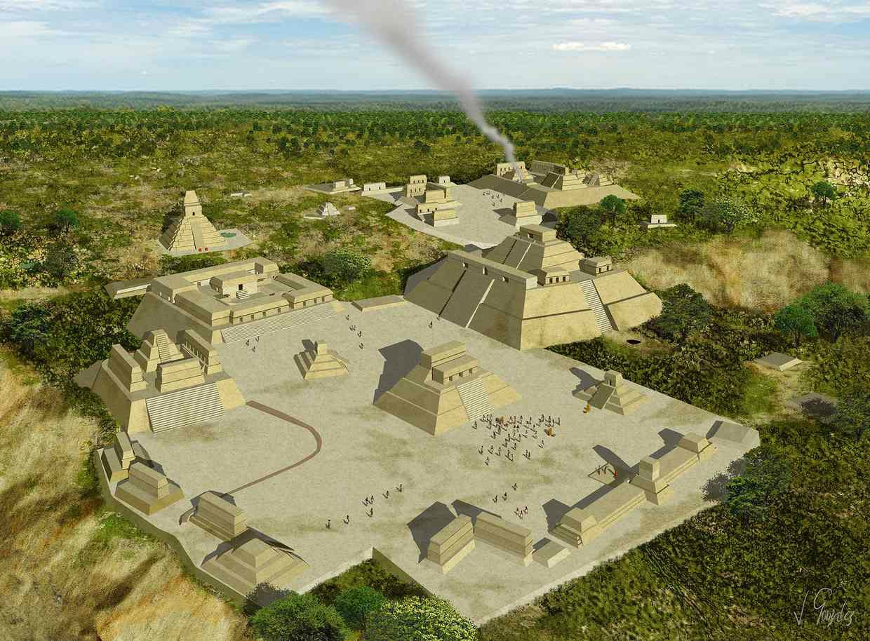 Reconstruction of the Holmul pyramids. Credit: J Gonzalez, PACUNAM